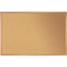 "Ghent® Cork Bulletin Board - Hardwood Oak - 60""W X 48""H"