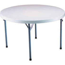 "Lifetime® Portable Round Folding Table 60"" - White Granite Top/Gray Frame"
