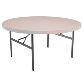 """Lifetime® Portable Round Folding Table 60"""" - Almond"""