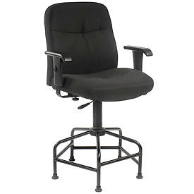 Big and Tall Stool With Arms - Fabric - Black