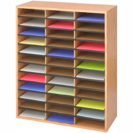 "36 Compartment Wood Literature Sorter - 34-1/2""H Oak"