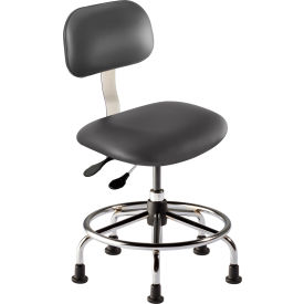 "BioFit Operator Chair - Multifunctional Control - 18""-22""H - Navy Fabric - Chrome Plated Metal"
