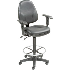 Interion™ Leather Stool - Operator Synchro Mechanism - 360° Footrest With Armrests