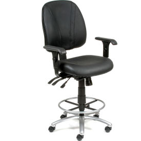 Interion™ Leather Stool - Manager Synchro Mechanism - 360° Footrest With Armrests