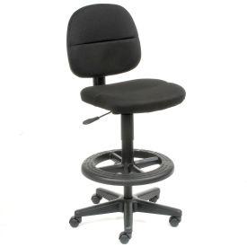Drafting Stool - Fabric - 360° Footrest - Black