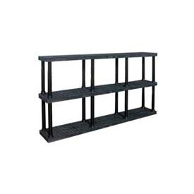 """Structural Plastic Vented Shelving, 96""""W x 16""""D x 51""""H, Black"""