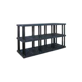 """Structural Plastic Vented Shelving, 96""""W x 36""""D x 51""""H, Black"""