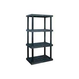 "Structural Plastic Adjustable Vented Shelving, 36""W x 16""D x 72""H, Black"