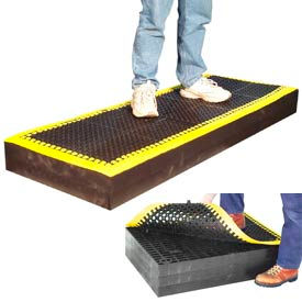 """7/8"""" Thick Anti Fatigue Mat - Black with Yellow Border 24X66"""
