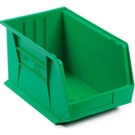Quantum Plastic Stackable Bin QUS255 11 x 16 x 8 Green - Pkg Qty 4