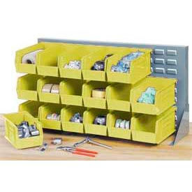 """Louvered Bench Rack 36""""W x 20""""H with 18 of Yellow Premium Stacking Bins"""