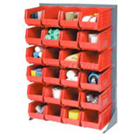 """Singled Sided Louvered Bin Rack 35""""W x 15""""D x 50""""H with 24 of Red Premium Stacking Bins"""