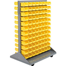 Mobile Double Sided Floor Rack With 192 Red Stacking Bins 36 x 54