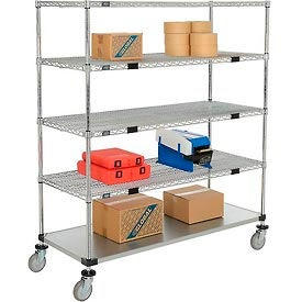 Open Sided Wire Exchange Truck - Four Wire & One Galvanized Shelf - 800 Lb. Cap