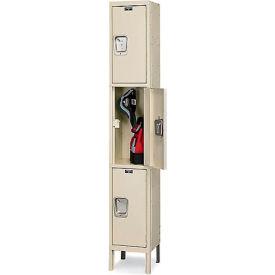 Hallowell UY1288-3 Maintenance-Free Quiet Locker Triple 12x18x24 3 Door Ready To Assemble Parchment