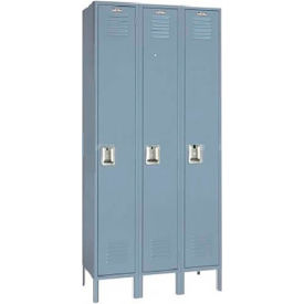 Lyon Locker Single Tier 12x15x60 3 Assembled Gray , Recessed Handle