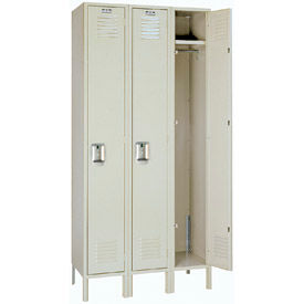 Lyon Locker Single Tier 12x18x60 3 Assembled Putty , Recessed Handle