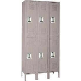 Lyon Locker DD52023SU Double Tier 12x12x36 3-Wide Recessed Handle Assembled Gray