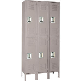 Lyon Locker Double Tier 12x15x36 6 Door Assembled Gray , Recessed Handle