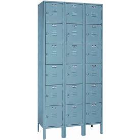 Lyon Locker DD53423SU Six Tier 12x15x12 3-Wide Hasp Handle Assembled Gray