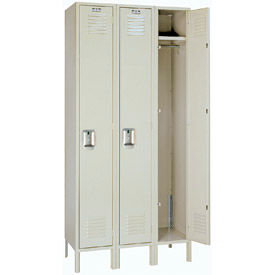Lyon Locker PP50023 Single Tier 12x12x60 3-Wide Recessed Handle Ready To Assemble Putty