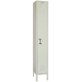 Lyon Locker PP5112 Single Tier 12x12x72 1-Wide Recessed Handle Ready To Assemble Putty