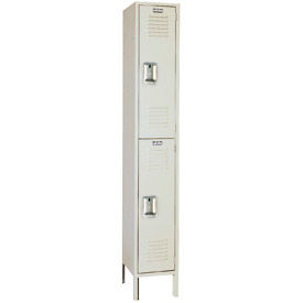 Lyon Locker PP5212 Double Tier 12x15x36 1-Wide Recessed Handle Ready To Assemble Putty