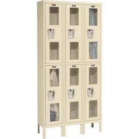 Hallowell USV3288-2PT Safety-View Locker Double Tier 12x18x36 6 Doors Unassembled Parchment