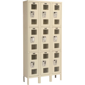 Hallowell USV3228-3PT Safety-View Locker Triple Tier 12x12x24 9 Doors Unassembled Parchment