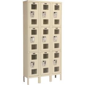Hallowell USV3228-3PT Safety-View Locker Triple Tier 12x12x24 9 Doors Unassembled Parchment