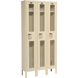 Hallowell USV3288-1A-PT Safety-View Locker Single Tier 12x18x72 3 Doors Assembled Parchment