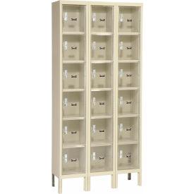 Hallowell USVP3228-6A-PT Safety-View Locker Six Tier 12x12x12 - 18 Doors Assembled - Tan