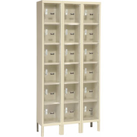 Hallowell USVP3288-6A-PT Safety-View Plus Six Tier Locker 12x18x12 - 18 Door Assembled - Tan