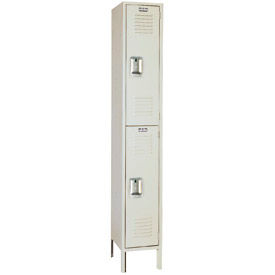 Lyon Locker Double Tier 15x15x36 2 Door Ready To Assemble Putty , Recessed Handle