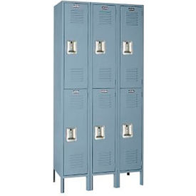 Lyon Locker DD52523 Double Tier 15x15x36 3-Wide Recessed Handle Ready To Assemble Gray