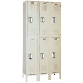 Lyon Locker Double Tier 15x15x36 6 Door Ready To Assemble Putty , Recessed Handle