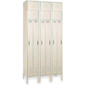 Lyon Locker PP5407 Two Person 15x18x72  4 Door 1-Wide Recessed Handle Ready To Assemble Putty