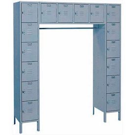 Lyon Locker DD5990 16 Person 69x18x78 - 16 Doors Hasp Handle Ready To Assemble Gray