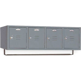 Lyon Locker DD5991CR Four Person Wall 45x18x13-3/4, 4 Doors Hasp Handle, Ready To Assemble Gray