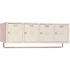 Lyon Locker PP5991CR Four Person Wall 45x18x13-3/4, 4 Doors Hasp Handle, Ready To Assemble Putty