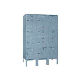 Lyon Locker DD53523SU Four Tier 12x12x12 3-Wide Hasp Handle Assembled Gray