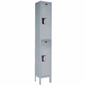 Hallowell UY1888-2A- Maintenance-Free Quiet Locker Double Tier 18x18x36 2 Door Assembled Gray