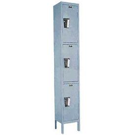 Hallowell UY1258-3A- Maintenance-Free Quiet Locker Triple Tier 12x15x24 3 Doors Assembled Dark Gray