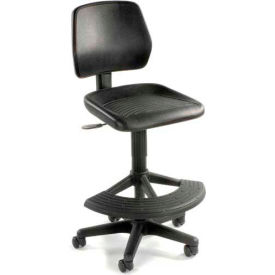 Task Stool with 180 Footrest- Polyurethane - Black