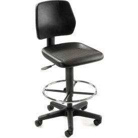 Task Stool with 360 Footrest- Polyurethane - Black