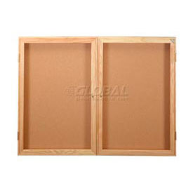 """United Visual Products Bulletin Board Two Door, 48""""W x 36""""H"""