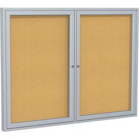 "Ghent® Aluminum Frame Two Door Bulletin Board - 48""W X 36""H"