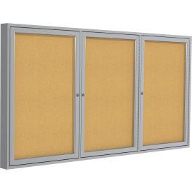 Ghent® Aluminum Frame Three Door Bulletin Board - 4' x 8'