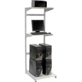 "24"" Computer Server Station, 24""W x 30""D x 74""H, Gray, Unassembled"