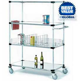Nexel® Stainless Steel Shelf Truck 36x18x69 1200 Lb. Capacity with Brakes